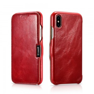ICarer Vintage Series [Red], Skórzane etui z klapką do iPhone XR