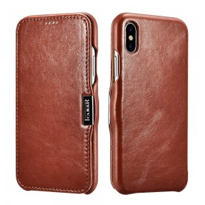 ICarer Vintage Series [Brown], Skórzane etui z klapką do iPhone XR
