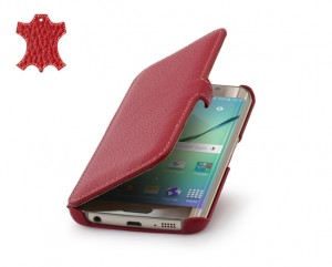 STILGUT Ultra Slim Book [Red], Etui Skórzane dla Galaxy S6 Edge