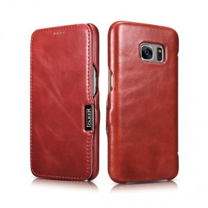 Icarer Vintage Series [Red], Skórzane etui do Galaxy S7