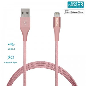 PURO Charge & Sync Cable with Magic Clip [Rose Gold], MFi Lightning kabel + klips