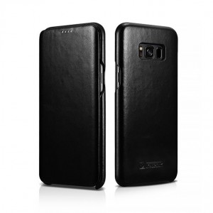ICarer Vintage Series [Black], Skórzane etui do Galaxy S8