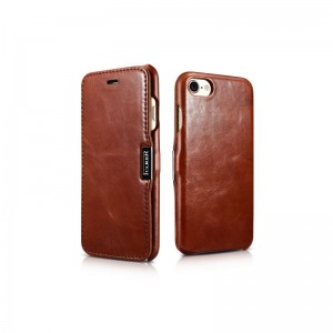 ICarer Vintage Series [Brown], Skórzane etui z klapką do iPhone 7/8
