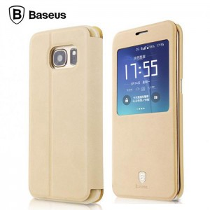 Baseus Terse Leather [Khaki], Etui z okienkiem do Galaxy S7