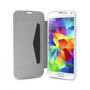 PURO Booklet Battery Case [White], Etui z klapką dla GALAXY S5/Neo